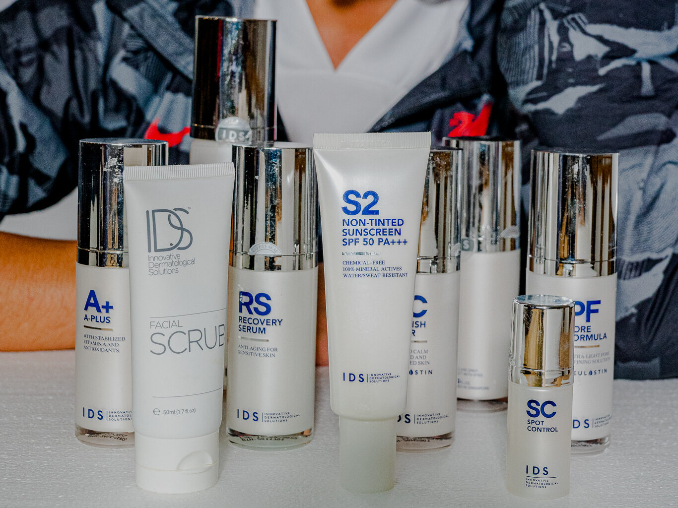 Different skincare products offered by IDS